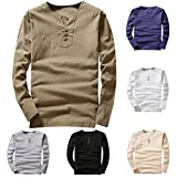 vermers Clearance Sale Mens T Shirts - Men's Casual Linen and Cotton Tee Long Sleeve V-Neck Top Blouse(4XL, White)