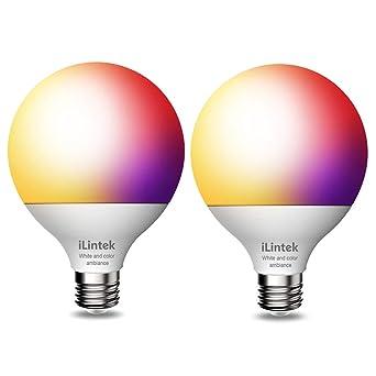 Bombillas led E27 - iLintek Bluetooth G95 13W Coloreado Bombilla de Luz Bombilla Regulable Control Remoto