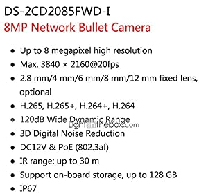 HIKVISION DS-2CD2085FWD-I 8MP IP Camera(12 VDC & PoE IP67 30m IR Built-in SD Slot H.265 3D DNR Motion Detection) by HIKVISION