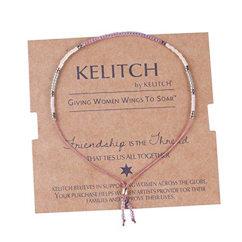KELITCH Thin Rope Friendship Bracelet Handmade Japanese Seed Bead Adjustable String Bracelets for Women, D