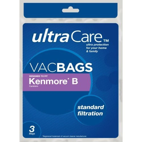 3 Genuine Kenmore Type B 850023 Ultracare Standard Filtration Vacuum Bags, 3pk
