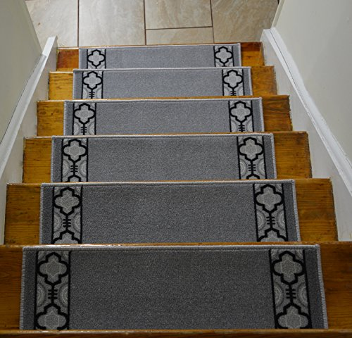Stair Treads Skid Slip Resistant Backing Indoor Carpet Stair Treads Trellis Border Design 8 ½ inch x 26 ¼ inch (Set of 13, Grey Black)