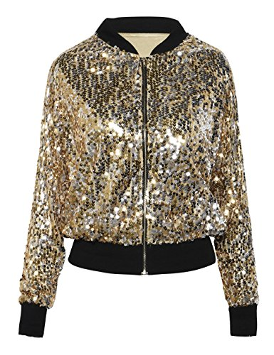 Sequin Embellished Jacket - kayamiya Womens Sequin Long Sleeve Front Zip Jacket With Ribbed Cuffs XL Gold