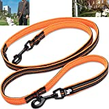 Creation Core Multi-fuctional Reflective Dog Leash with Snap Hook Adjustable Hands Free Walking Training Running Leash, Orange M