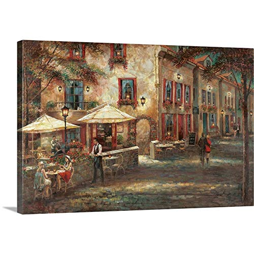 Courtyard Cafe Canvas Wall Art Print, 36