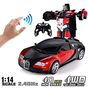 Fewao RC Deformable Car Robot Induction Deformation Car, Remote Control Transformer Robot Car Auto Demo Exciting Voice…