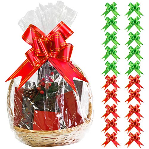 Aneco 20 Pack Large Clear Cellophane Wrap Christmas Clear Basket Bags Pull Bow Set 30 x 44 Inches Wrap Basket Bags for Gift Baskets