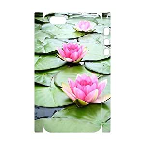 3D Bumper Plastic Customized Case Of Water Lily for iPhone 5,5S