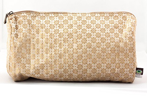 (Travel Accessories Bag//Gold Flowers//Traveler//Fair Trade//Vintage//Gifts for her//Makeup Case//Toiletries)