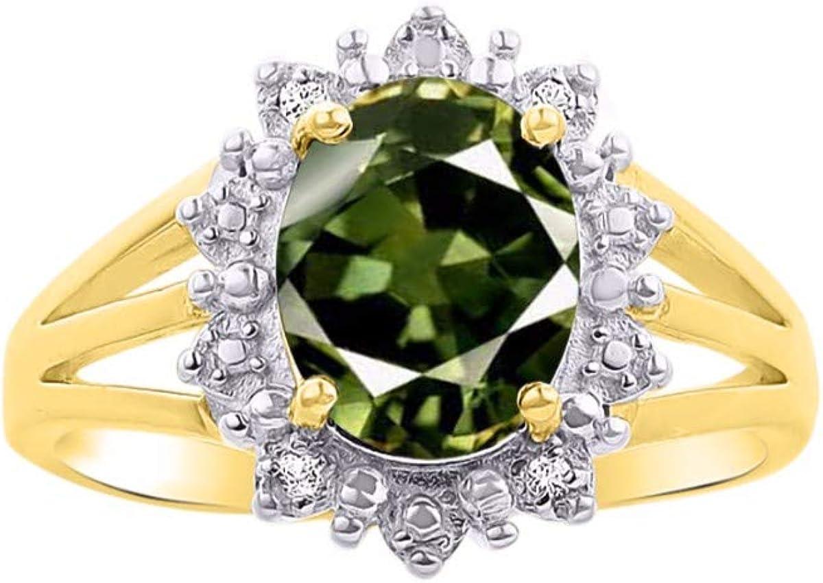 RYLOS Anillo de halo inspirado en la princesa Diana con piedras preciosas y diamantes brillantes auténticos en oro amarillo de 14 K - 9 x 7 mm esmeralda, rubí y zafiro