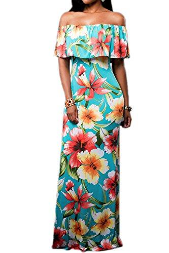 Las Mujeres Verano Off Shoulder Ruffle Long Maxi Dress Cocktail Blue L