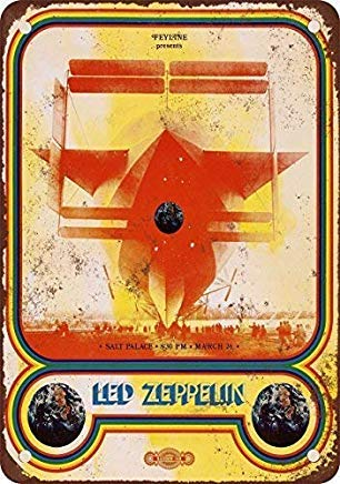 Halloween Salt Lake City (Liz66Ward Led Zeppelin in Salt Lake City Metal Signs Vintage Retro Home Wall Art Decor Wall Plaque Metal Tin Sign for Men Cave)