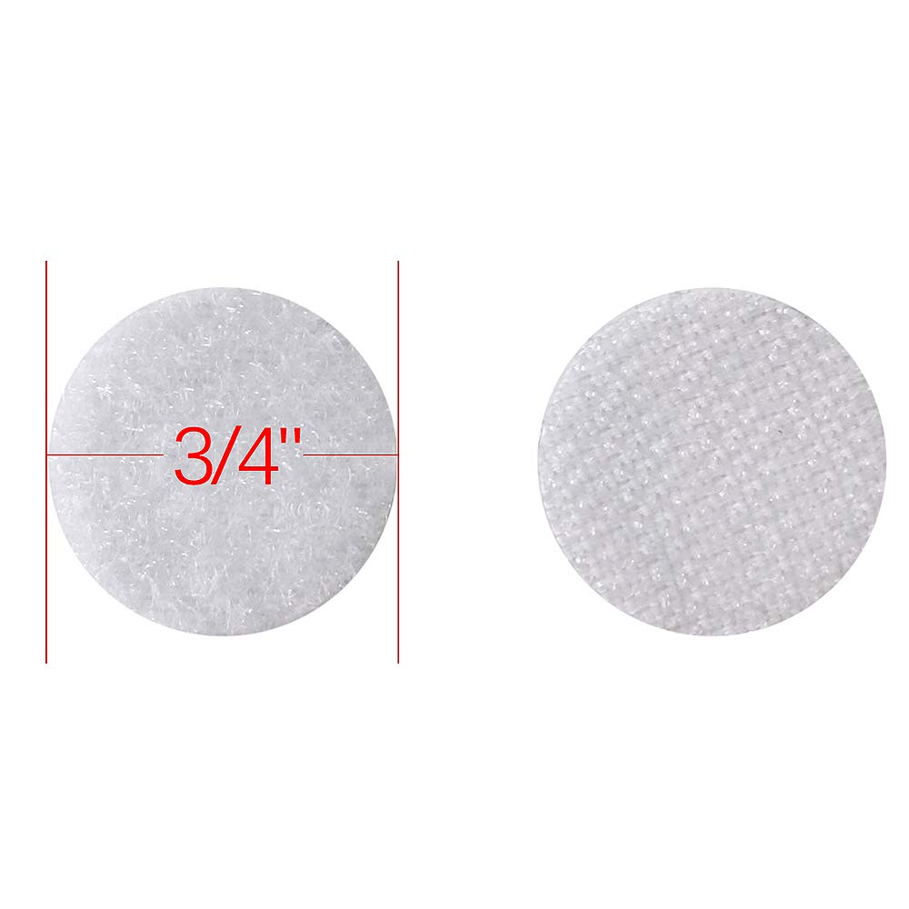 Heze 1000pcs(500 Pair Sets) 3/4'' Diameter Sticky Back Coins Hook & Loop Self Adhesive Dots with Waterproof Sticky Glue Coins Tapes (White) by Heze (Image #7)