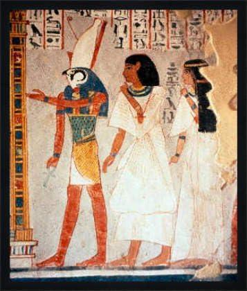 "Bild mit Rahmen: Ägyptische Malerei, ""Dra Abu-'l-Naga (Ägypten), Grab /  Horus"", 59 x 70 - Holz Fortuna L: Schwarz matt: Amazon.de: Küche & Haushalt"