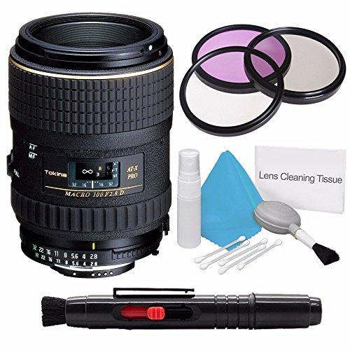 Tokina 100mm f/2.8 at-X M100 AF Pro D Macro Autofocus Lens for Nikon AF-D (International Model) +Deluxe Cleaning Kit + Lens Cleaning Pen + 55mm UV - Lens Nikon 100 Mm Macro