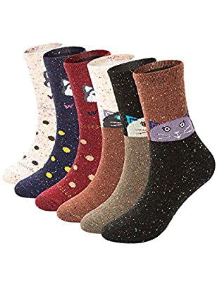 6 Pairs Womens Winter Warm Wool Crew Socks Thick Knitting Casual Socks Cute Animal Patterned