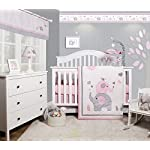 GEENNY-OptimaBaby-Pink-Grey-Elephant-6-Piece-Baby-Girl-Nursery-Crib-Bedding-Set