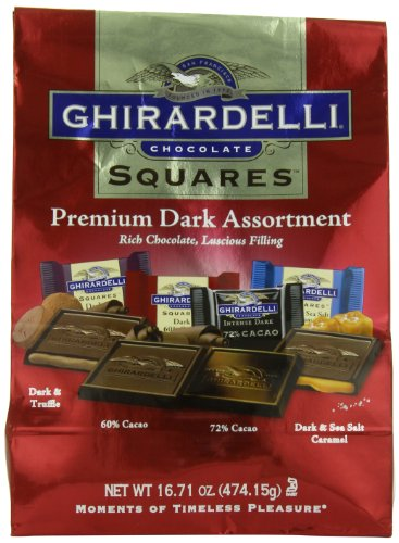 (Ghirardelli Dark Assorted Chocolate Squares XL Bag, 16.71 oz.)