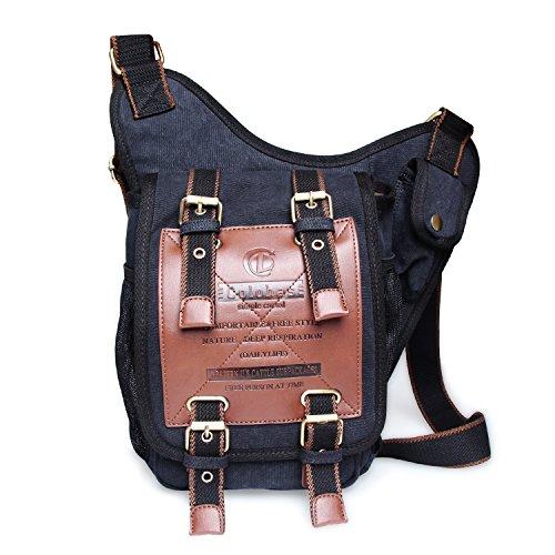 Colohas Canvas Backpack ,Casual Sling Shoulder Backpacks Bags Crossbody Rucksack for Hiking or Multipurpose Daypacks and School Handbag for Boys or Girls(Black)