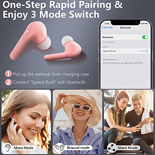 Wireless Earbuds Bluetooth 5.1 Headphones with Microphone for Sport & Workout, 25 Hours Playtime, IPX7 Waterproof Earphones in-Ear with Stereo & Deep Bass, Comfortable (Pink)