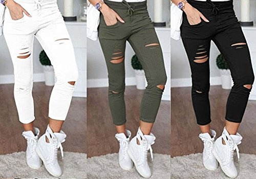 Women's J2 Love Ripped Cotton Legging White L by FOURSTEEDS (Image #1)