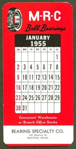 Mrc Ball Bearings - M-R-C Ball Bearings ad blotter calendar 1 1955