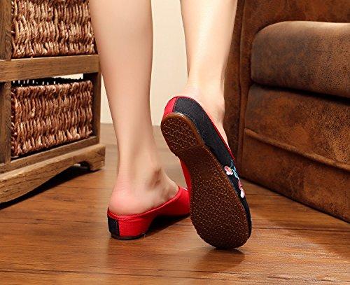 Tendine Modo Desy Black Sandali Caduta Scarpe Ricamate Etnico Vibrazione Unico Femminile Stile Di Comodo vTTtqn