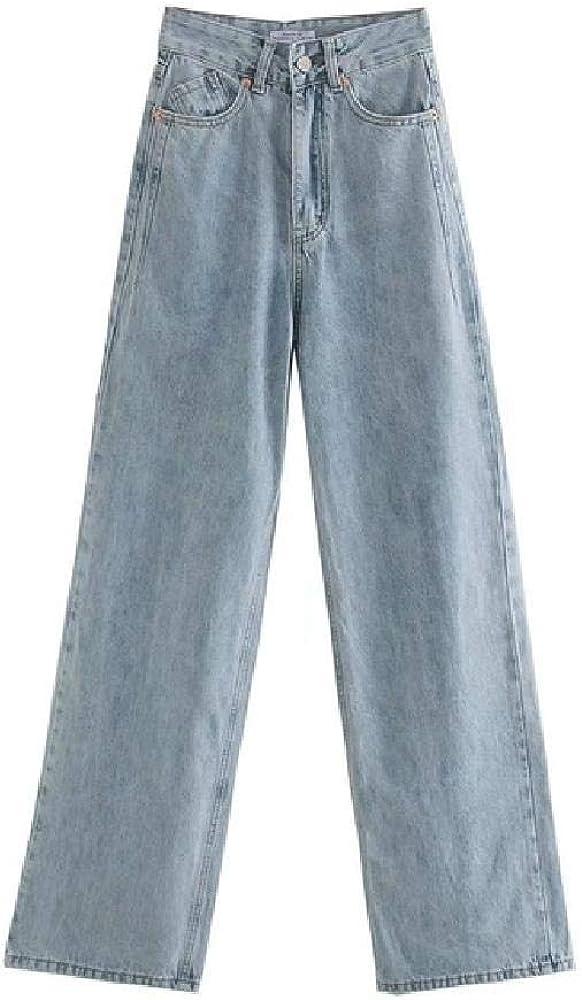 Pantalones Vaqueros de Cintura Alta para Mujer, Pantalones Vaqueros con Bolsillos con Cremallera, Pantalones Vaqueros de Pierna Ancha para Mujer