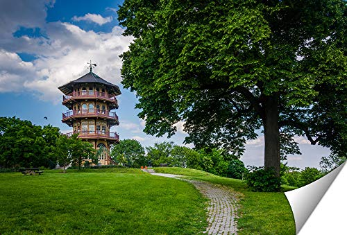 Ashley Giclee The Pagoda and A Tree at Patterson Park in Baltimore Maryland Wall Art Poster Print for Bedroom, Ready to Frame, 16x20 Print
