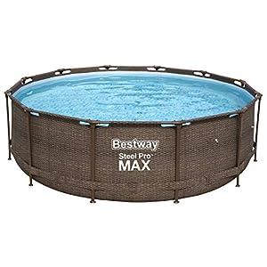 Bestway 56923 | Steel Pro MAX Deluxe Series Piscina Fuori Terra Base, Struttura e Liner, Rotonda, 366x100 cm, Effetto Rattan 11 spesavip