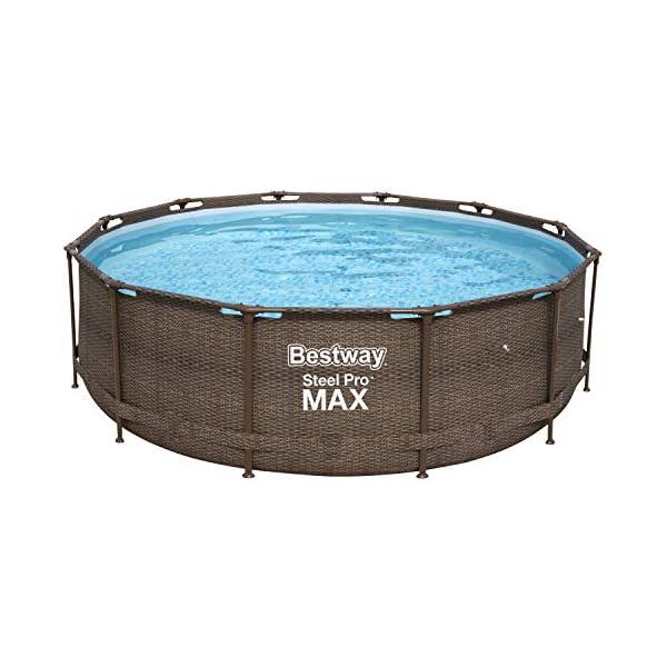 Bestway 56923 | Steel Pro MAX Deluxe Series Piscina Fuori Terra Base, Struttura e Liner, Rotonda, 366x100 cm, Effetto… 1 spesavip