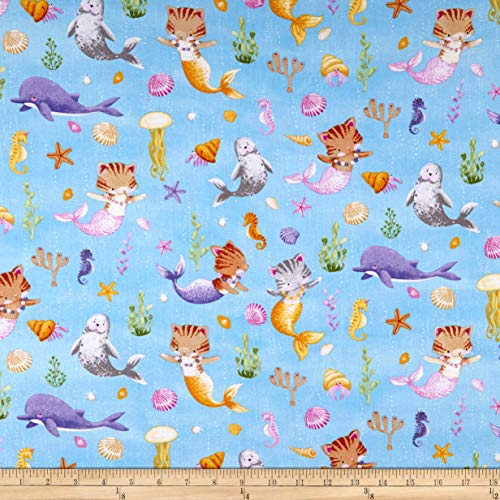 Timeless Treasures Meow-Maids Cat Mermaids Fabric, Water, Fabric By The Yard
