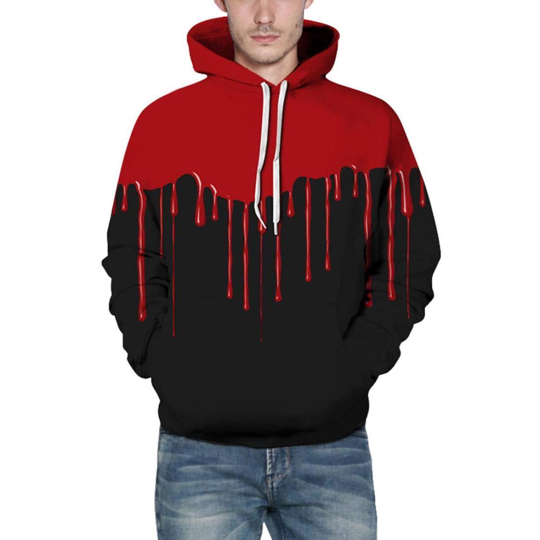 Men's Jackets & Coats, Sweatshirts for Men Hoodie, Loves' Casual Autumn Winter 3D Printing Long Sleeve Hoodies Sweatshirt Blouse (Black, 2XL/3XL)