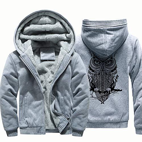 - Kaniem Hooded Jacket,Mens Causal Owl Back Print Flannel Lined Zipper Hooded Sweatshirt Coat (L, Gray)