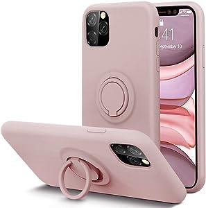KUMEEK for iPhone 11 Pro Max Case Fingerprint | Kickstand | Anti-Scratch | Microfiber Liner Shock Absorption Gel Rubber Full Body Protection Liquid Silicone Case for iPhone 11 Pro Max-Sand Pink