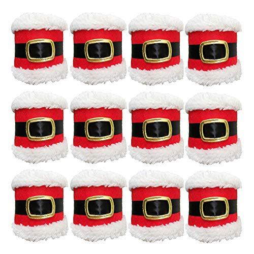 (Buery Napkin Ring Set of 12 Santa Belts Design Christmas Napkin Rings Serviette Holder Party Banquet Dinner Table Decor)