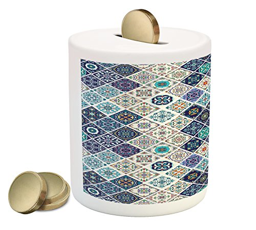 Cheap  Traditional Coin Box Bank by Ambesonne, Portuguese Historical Mixed Azulejo Mosaic Tiles..