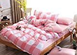 BEIRU Japanese Style New Simple Activity Washed Cotton Four Sets Of Plaid Twill Linen Sheets Bed ZXCV (Color : Pink, Size : 180220cm)