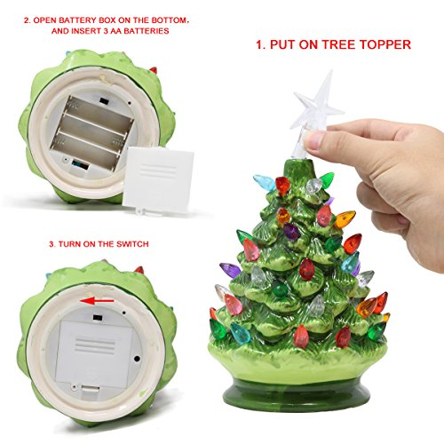 Joiedomi 9 Tabletop Prelit Ceramic Christmas Tree With Led Lights Battery Powered Mini Christmas Tree Decoration