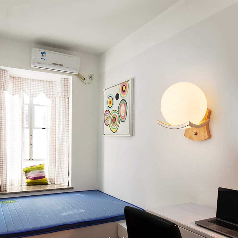 Led E27 Lampada da parete camera da letto,Illuminazione applique parete moderna di legno solido per camera da letto comodino scale navata-J B