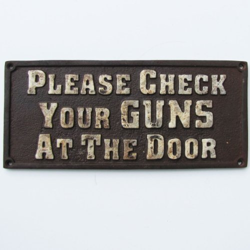 (TG,LLC Old West Hotel Saloon Cast Iron Sign Please Check Your Guns at The Door Plaque)