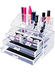 Transparent Cosmetic Makeup Acrylic Organizer Drawers Set for Lipstick, Brushes, Bottles, Jewelry and More. Clear Case Display Rack Storage Holder (2 Piece Set)