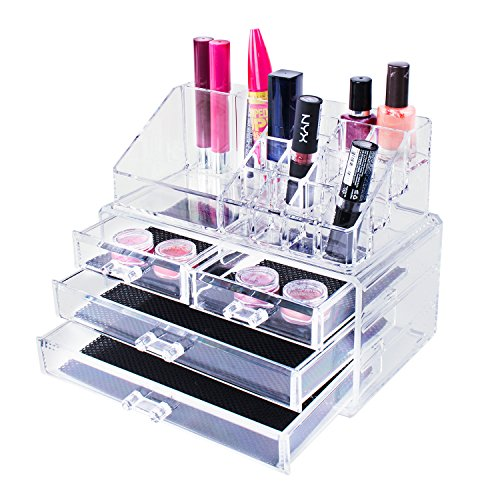 Acrylic Rack Transparent (Transparent Cosmetic Makeup Acrylic Organizer Drawers Set for Lipstick, Brushes, Bottles, Jewelry and More. Clear Case Display Rack Storage Holder (2 Piece Set))