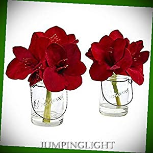 JumpingLight Amaryllis in Glass Vase (Set of 2) Artificial Flowers Wedding Party Centerpieces Arrangements Bouquets Supplies 46