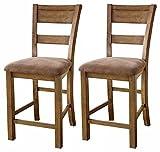 Ashley Furniture Signature Design - Krinden Upholstered Barstool Set - Counter Height - Vintage Casual - Light Brown