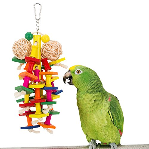 PAMAGOO Knots Block Bird Chewing Toys Medium Parrot Cage Wood Bite Toys African Grey Eclectus Cockatoo Parakeet Cockatiel Conure Lovebird Cage Bird Chew Toy 12.2 Inch with Bell