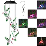 LYHOPE Solar String Lights, Color Changing Led Mobile Hummingbird Solar Lights, Waterproof Solar Wind Chimes for Outdoor Garden Patio Yard Decoration