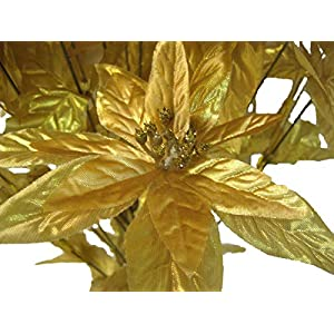 "Gold Christmas Poinsettia Bush 24 Artificial Silk Flowers 24"" Bouquet 024GD 37"