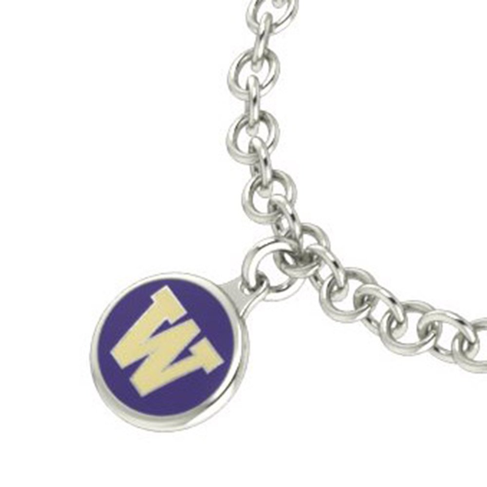 University of Washington Huskies Sterling Silver Jewelry and Enamel Charm Bracelet.
