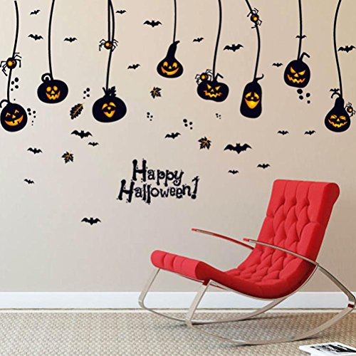 (Snowfoller Scary Spider Pumpkin Wallpaper, Happy Halloween Household Room Wall Sticker Mural Decor Decal Removable New Wall)